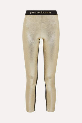 Paco Rabanne Metallic Stretch-jersey Leggings - Gold