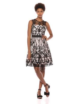 Gabby Skye Women's Sleeveless Floral Printed Fit and Flare Dress, Black/Gold