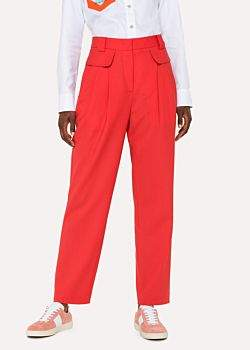 Paul Smith Women's Red Wool Pleated Trousers