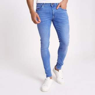 Mens Mid Blue fade Eddy skinny jeans River Island XLRxI