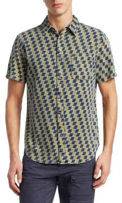 Madison Supply Short-Sleeve Checkered Cotton Button-Down Shirt
