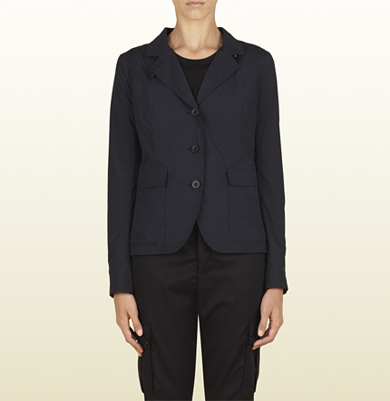 Gucci Womens Ink Light Matte Stretch Nylon Patch Pocket Blazer From Viaggio Collection