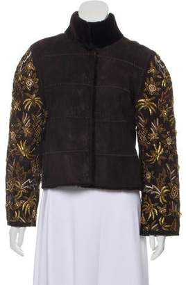 Dennis Basso Embellished Fur-Trimmed Jacket