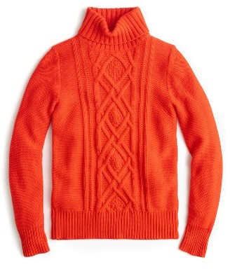 Women's J.crew Cambridge Cable Turtleneck Sweater $98 thestylecure.com