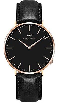 4116b3734a [ウェリーマーク]Welly Merck 本革 超薄型 スイスブラント 腕時計 スイスクォーツ