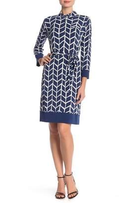 Donna Morgan Long Sleeve Print Waist Tie Jersey Dress