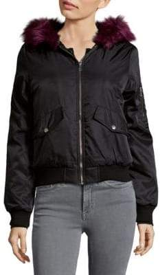 C&C California Faux Fur Trim Bomber Jacket