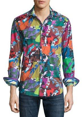 Robert Graham Cholla Cactus Printed Long-Sleeve Sport Shirt, Multicolored $268 thestylecure.com