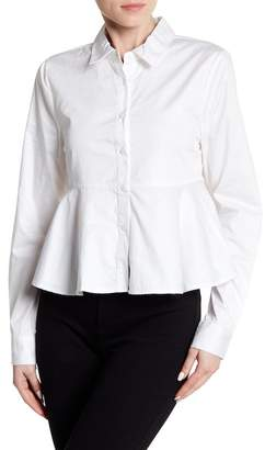 KENDALL + KYLIE Kendall & Kylie Back Tie Crop Button Down Blouse