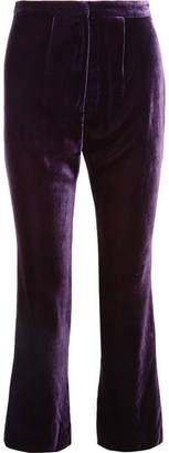 Raquel Diniz - Eunice Silk-velvet Flared Pants - Purple
