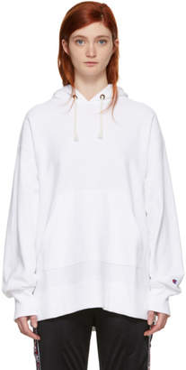 Champion Reverse Weave White Oversized Small Logo Hoodie