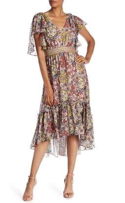 Taylor Flutter Sleeve Midi Hi-Lo Dress