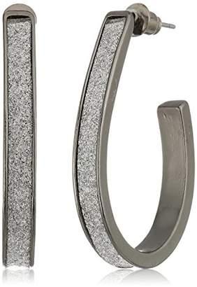 Steve Madden Plated Stainless Steel U Bar Glitter Post Drop Earrings