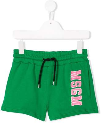 MSGM Kids logo embroidered shorts