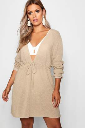 boohoo Plus Metallic Drawstring Beach Dress