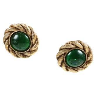 Chanel Vintage Green Metal Earrings