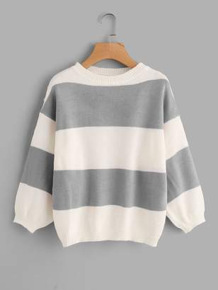 Shein Drop Shoulder Wide Striped Sweater