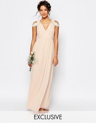 TFNC WEDDING Cold Shoulder Wrap Front Maxi Dress $81 thestylecure.com