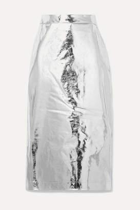 McQ Metallic Vinyl Midi Skirt - Silver