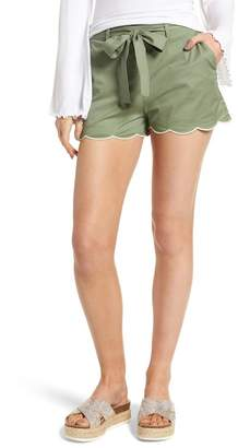 BP Tie Waist Scallop Hem Shorts