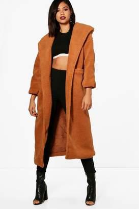 boohoo Maria Oversized Hoody Teddy Maxi Coat