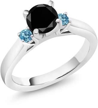Gem Stone King 1.35 Ct Round Black Diamond Swiss Blue Topaz 925 Sterling Silver 3-Stone Ring