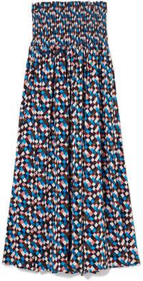 Tory Burch - Prism Smocked Printed Voile Midi Dress - Blue