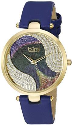 Burgi Women's Pure Elegance Crystal-Studded Watch with Peacock Feather Pattern Dial and Blue Leather Strap BUR131BU