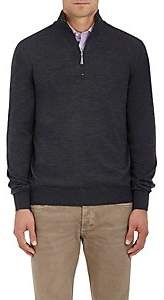 Barneys New York Men's Virgin Wool Mock-Turtleneck Zip-Front Sweater-Charcoal