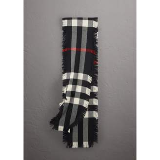 Burberry Fringed Check Wool Scarf, Black