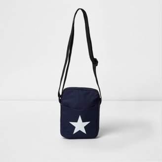 River Island Mens Navy Mi-Pac star print cross body flight bag