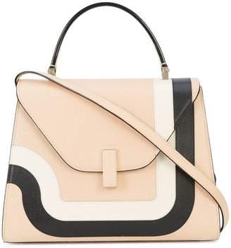 Valextra contrast geometric trim handbag