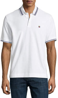 Ermenegildo Zegna Pique Polo Shirt with Iconic Flag Logo