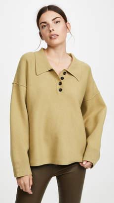 Alexander Wang Oversized Long Sleeve Polo Shirt