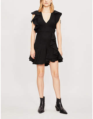 Sandro Ruffled crepe mini dress