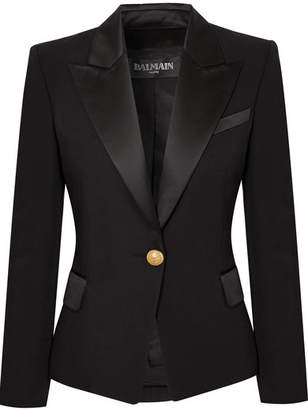 Balmain Satin-trimmed Wool Blazer - Black