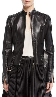 Elie Saab Zip-Front Belted Leather Peplum Jacket with Stud Details