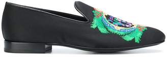 Versace embroidered logo loafers