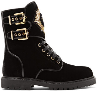 Balmain - Leather-trimmed Embellished Suede Ankle Boots - Black $1,850 thestylecure.com