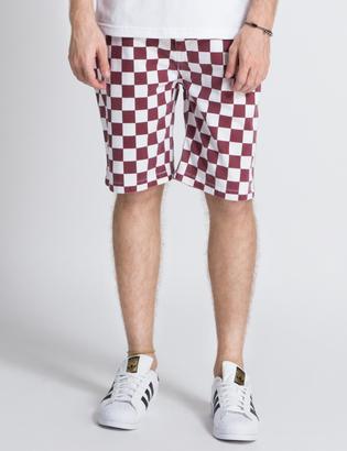 FUCT SSDD White/Burgundy Checker Flag Shorts $173.80 thestylecure.com