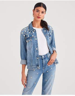7 For All Mankind Boyfriend Jacket With All Over Pearl Embellishment In Flora