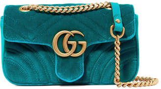 Gucci Gg Marmont Mini Quilted Velvet Shoulder Bag - Blue