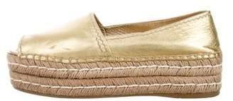 Prada Leather Peep-Toe Espadrilles