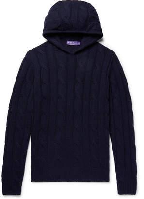 Ralph Lauren Purple Label Slim-Fit Cable-Knit Cashmere Hoodie