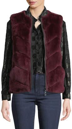 Belle Fare Reversible Rabbit Fur Chevron Vest