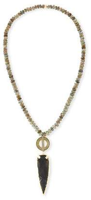 NEST Jewelry Beaded Labradorite & Jasper Arrowhead Pendant Necklace