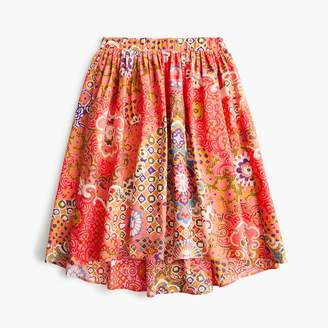 J.Crew Tall cotton pleat-front skirt in paisley print