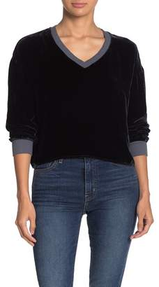 Nation Ltd. Nadira Velvet Deep V-Neck Sweater