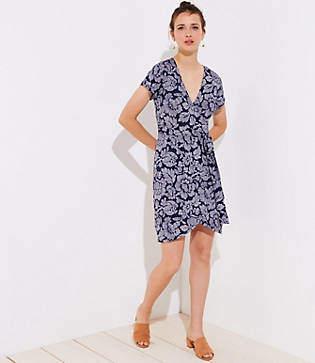 LOFT Petite Floral Short Sleeve Wrap Dress