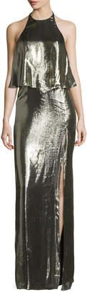 Halston Metallic Jersey Halter Popover Gown, Antique Brass